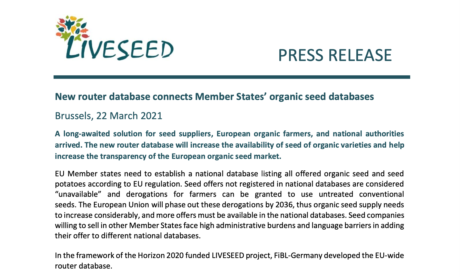 LIVESEED press release router database